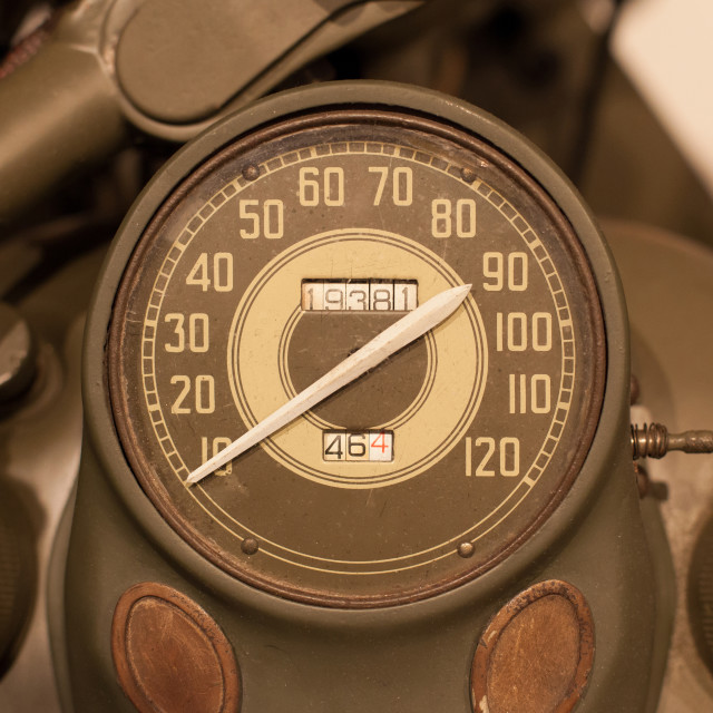 """Old style of motorcycle speedometer"" stock image"
