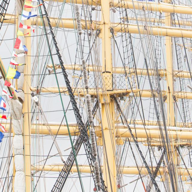 """Old sail and old ship masts"" stock image"
