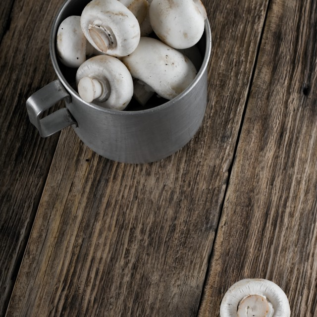 """Aluminum cup full of mushrooms"" stock image"