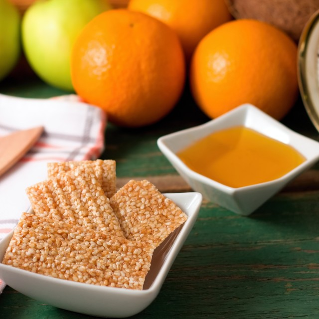 """Breakfast with sesame wafers and fruit"" stock image"