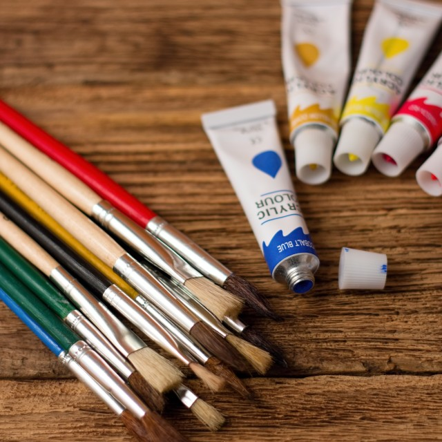 """Collection of brushes and acrylic colors"" stock image"
