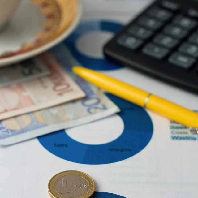 """Euro coin placed on paper sheet with blue pie chart"" stock image"