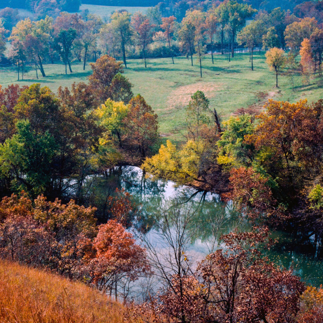 """Scenic Ozarks River in Autumn"" stock image"