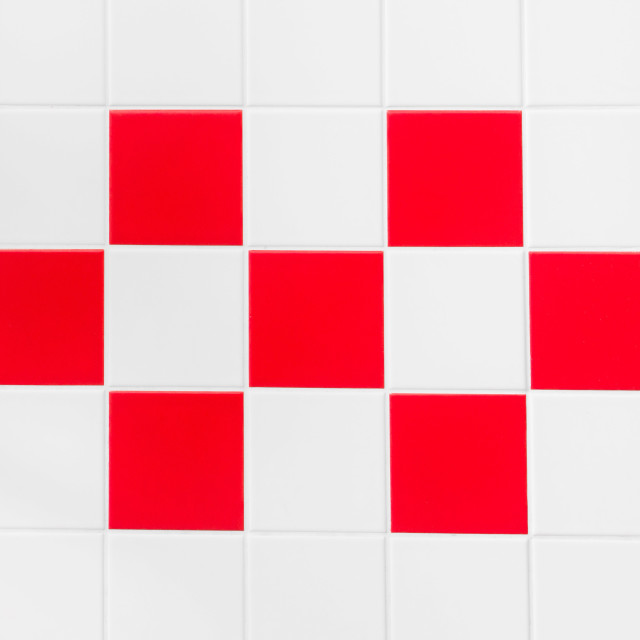 """Red and white tiles"" stock image"