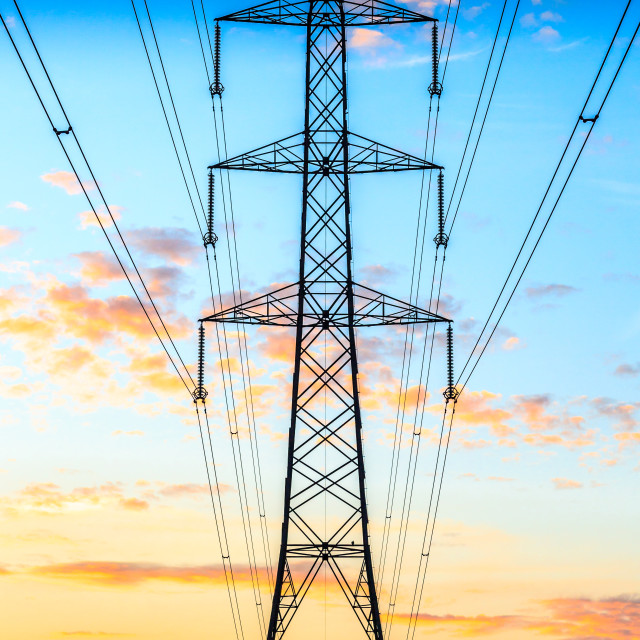 """A Pylon Sunrise"" stock image"