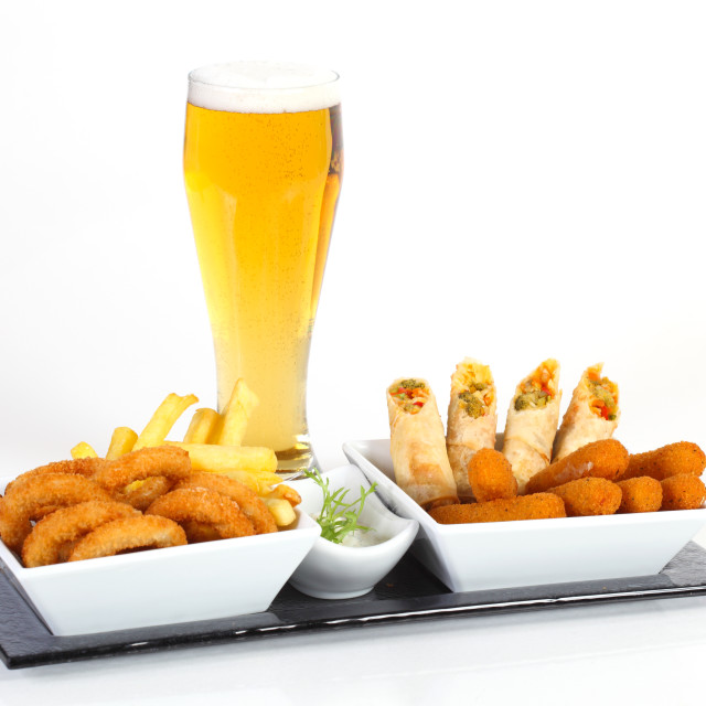 """Beer and fried appetizer"" stock image"