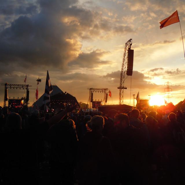 """Glastonbury Festival Sunset"" stock image"