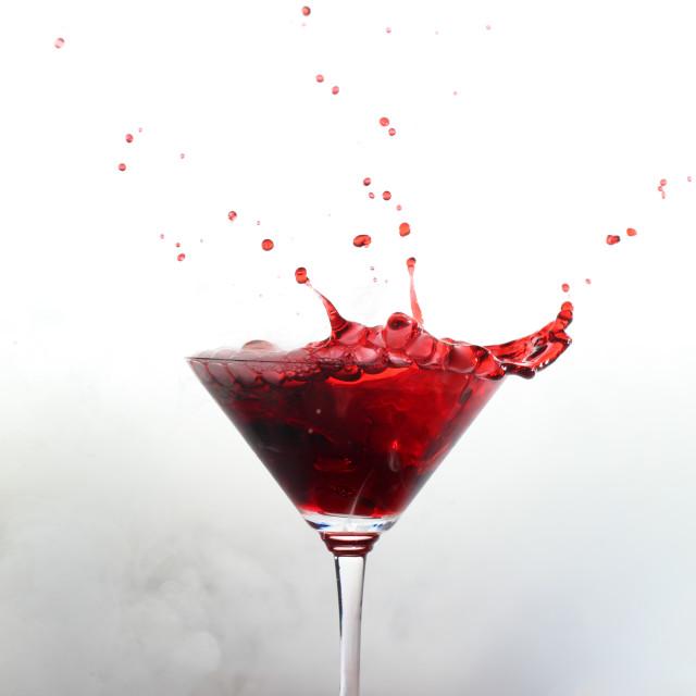 """Splash drink with white smoke"" stock image"