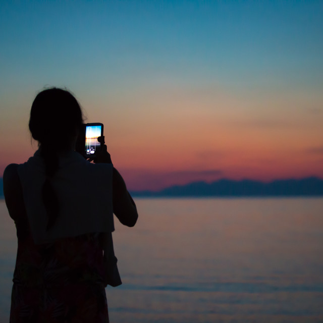 """Sunset Photographer in Greece"" stock image"