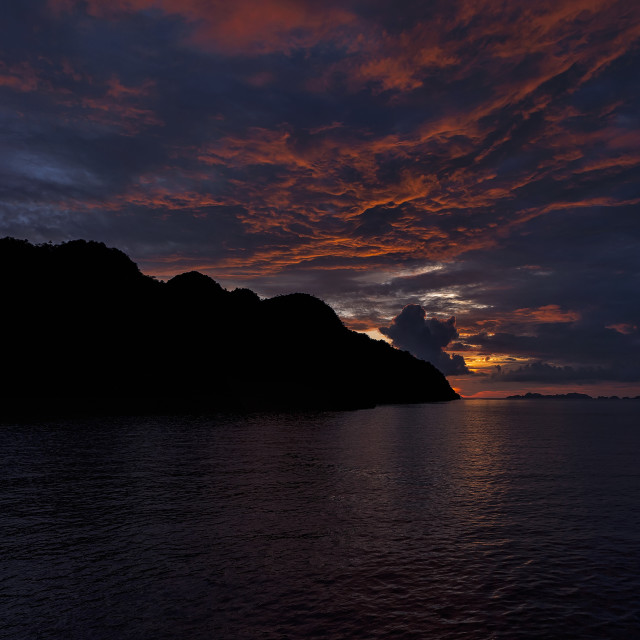"""Beautiful sunset in the Misool Area Raja Ampat / West Papua"" stock image"