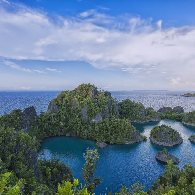 """View of Fam Islands in the Raja Ampat archipelago of Bird's Head Peninsula, West Papua"" stock image"
