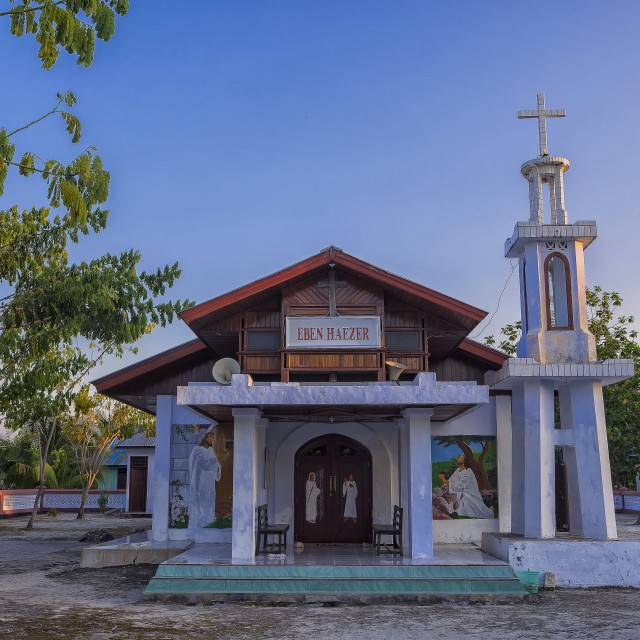 """Church of Pulau Airborek in the Raja Ampat archipelago of Bird's Head Peninsula, West Papua"" stock image"