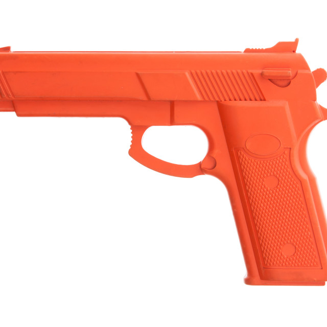 """""""Dirty red training gun isolated on white"""" stock image"""