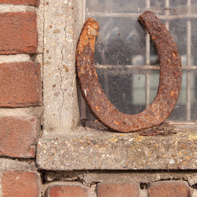 """Single horseshoe in front of a window"" stock image"