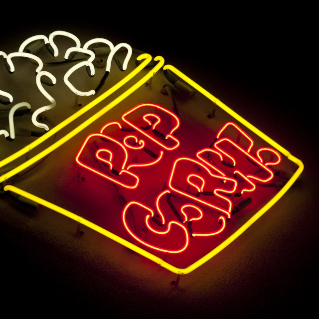 """Neon Popcorn Sign"" stock image"