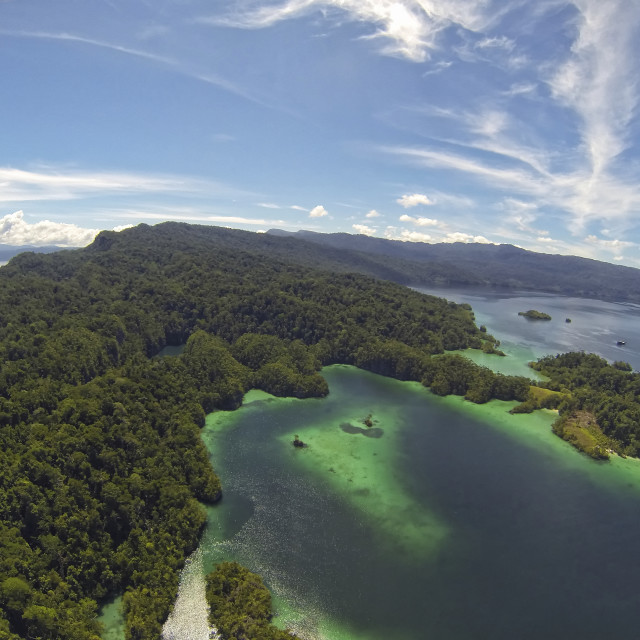"""Aerial photography of the Ranger Bay in the area of Triton Bay in West Papua, Indonesia"" stock image"
