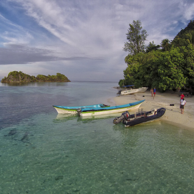 """""""Aerial photography of a nice beach on Yilliet Island in the Misool Archipelago in West Papua, Indonesia"""" stock image"""