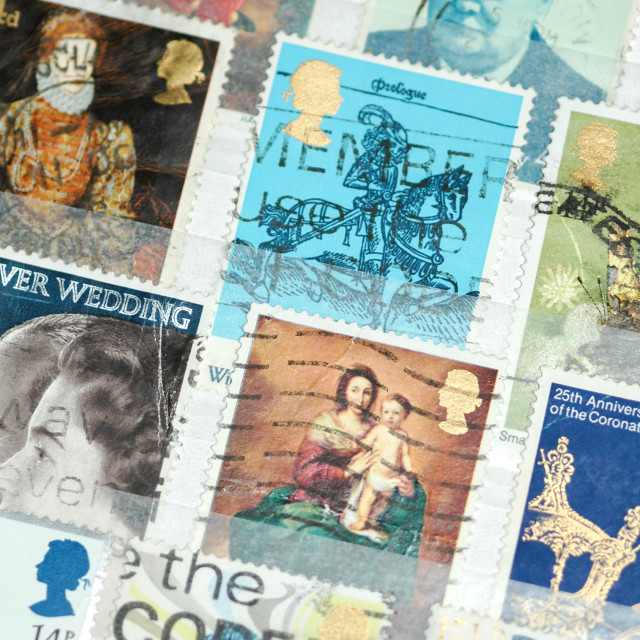 """used british stamps"" stock image"