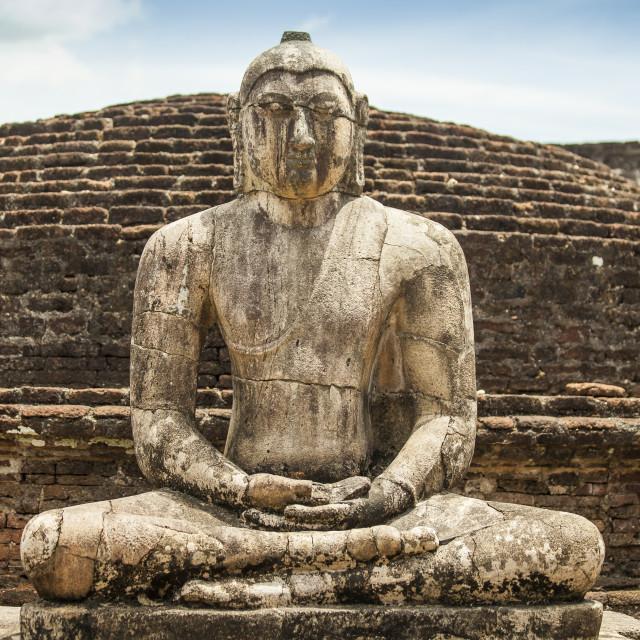 """Ancient Buddha statue at Polonnaruwa"" stock image"