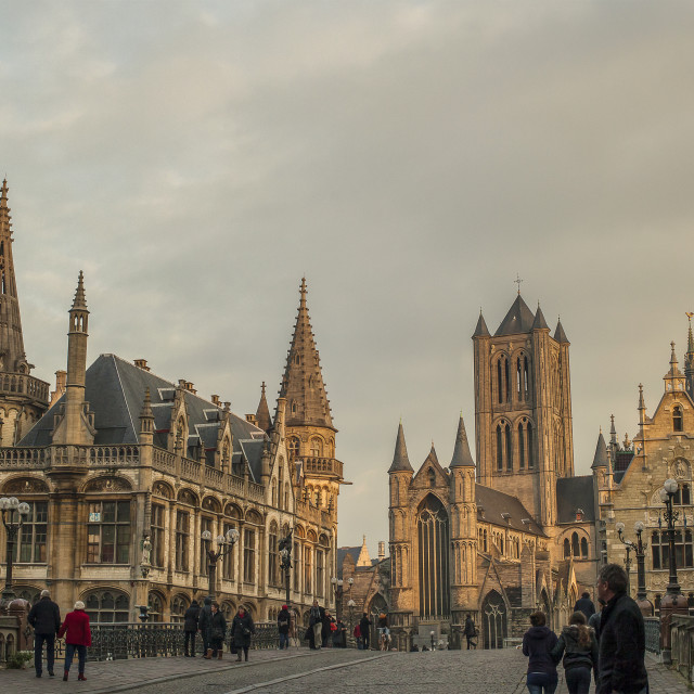"""View on Medieval Ghent"" stock image"