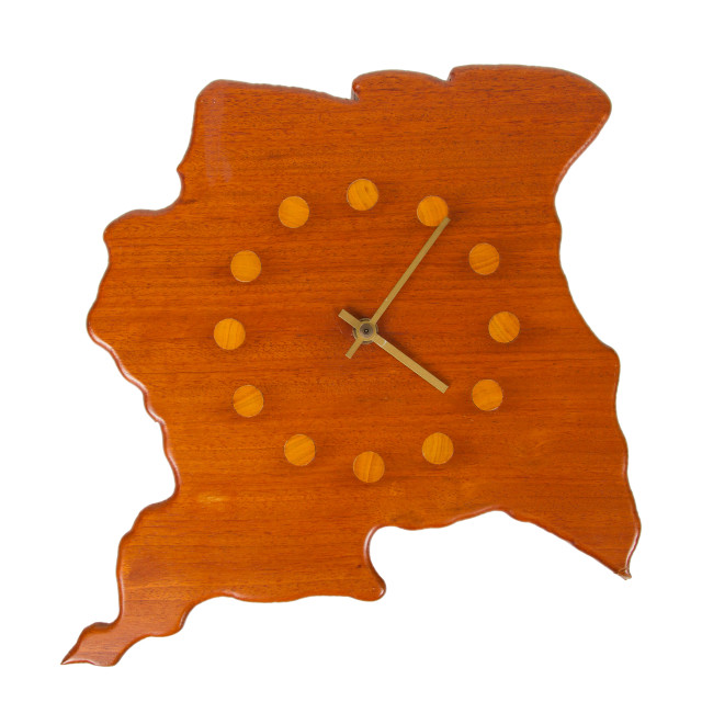"""""""Wooden clock in the shape of the country Suriname"""" stock image"""
