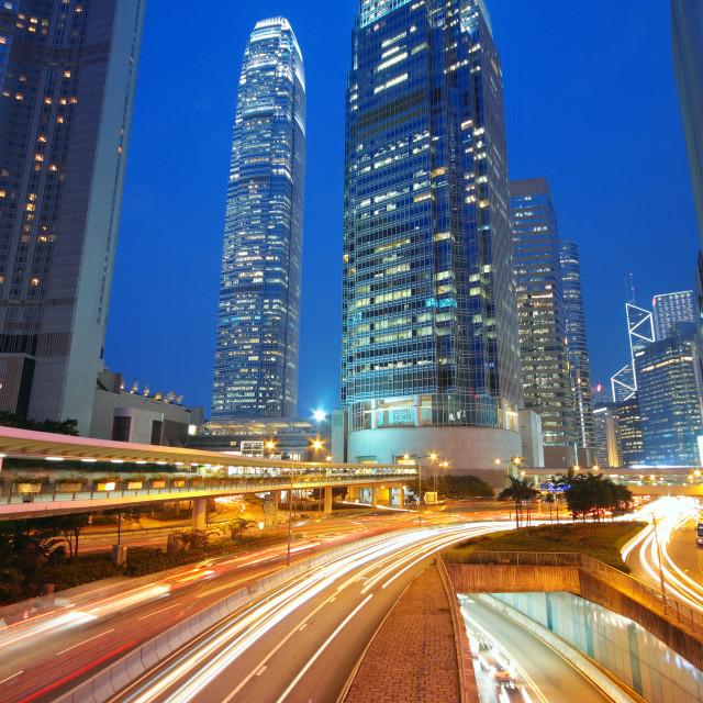 """Modern Urban City with Freeway Traffic at Night, hong kong"" stock image"