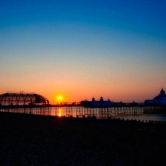 """Eastbourne Pier at Sunrise"" stock image"