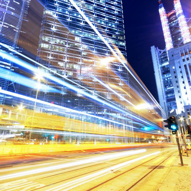 """hong kong modern city High speed traffic"" stock image"