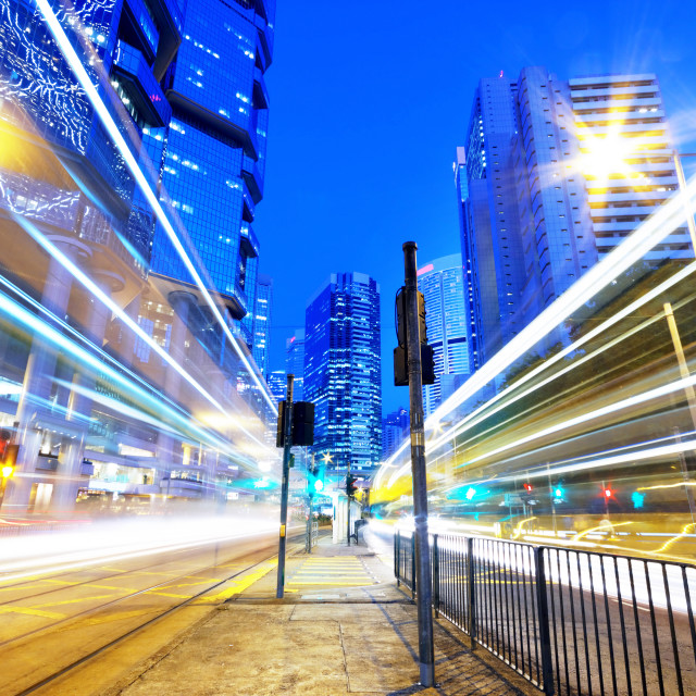 """HongKong traffic light trails"" stock image"