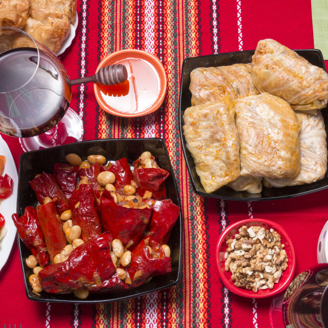 """Traditional bulgarian christmas table setup"" stock image"