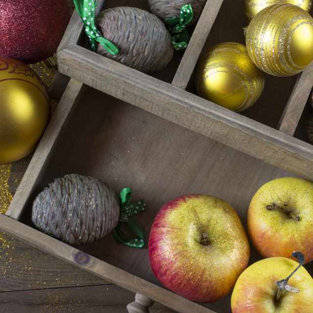 """Christmas decorations on a old wood board"" stock image"