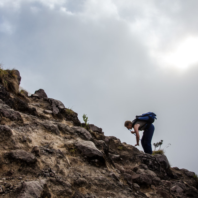 """""""68 year old tourist climbs volcano"""" stock image"""
