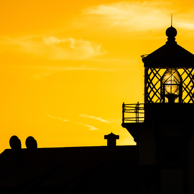 """Point Cabrillo Light Station Silhouette"" stock image"