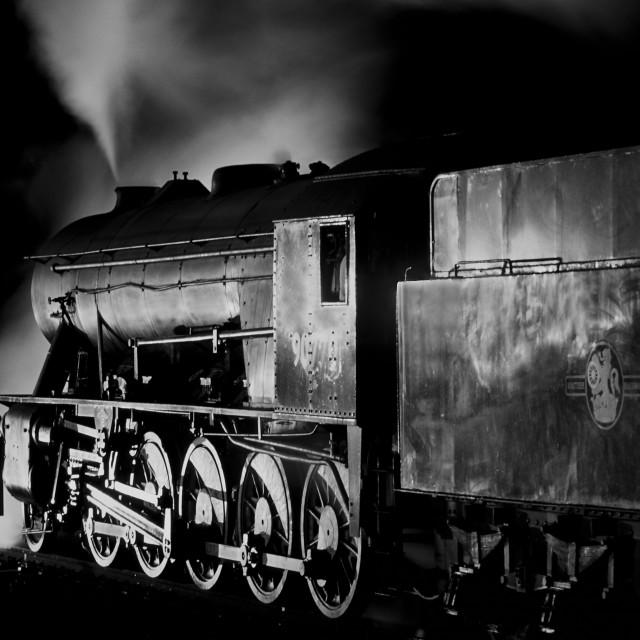 """Austerity locomotive preparing to depart at night"" stock image"
