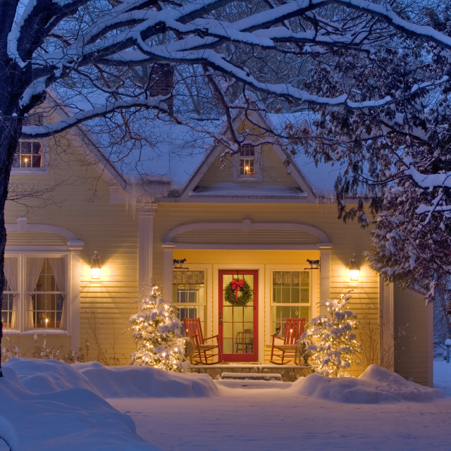 """Christmas Home. Grand Isle, Vermont"" stock image"