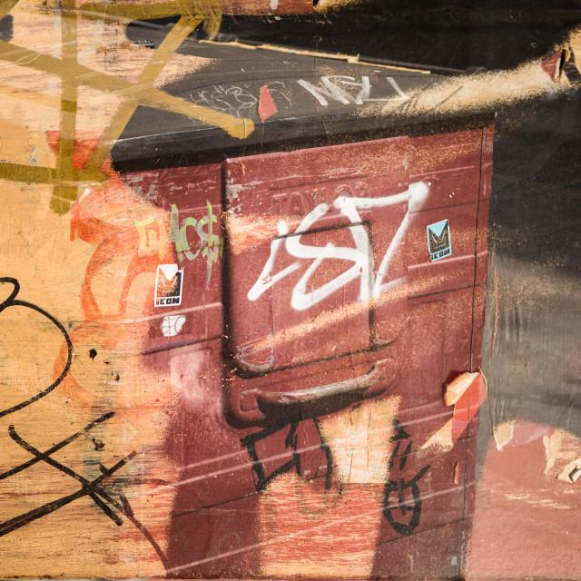"""Graffiti/Bin Double Exposure"" stock image"