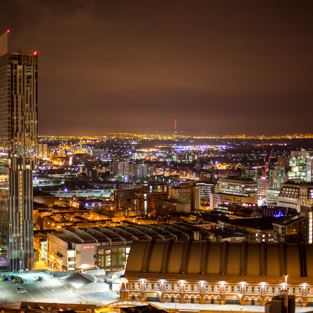"""""""Manchester at night 5"""" stock image"""
