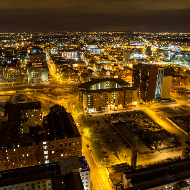"""Manchester at night"" stock image"