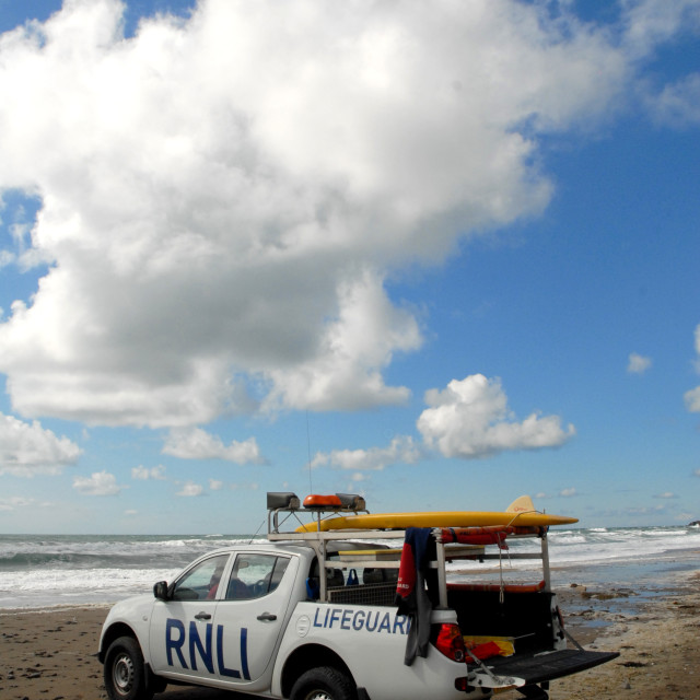 """On Guard at Widemouth Bay"" stock image"