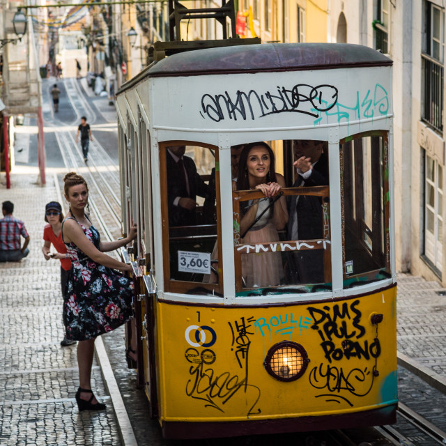"""Tram Wedding"" stock image"