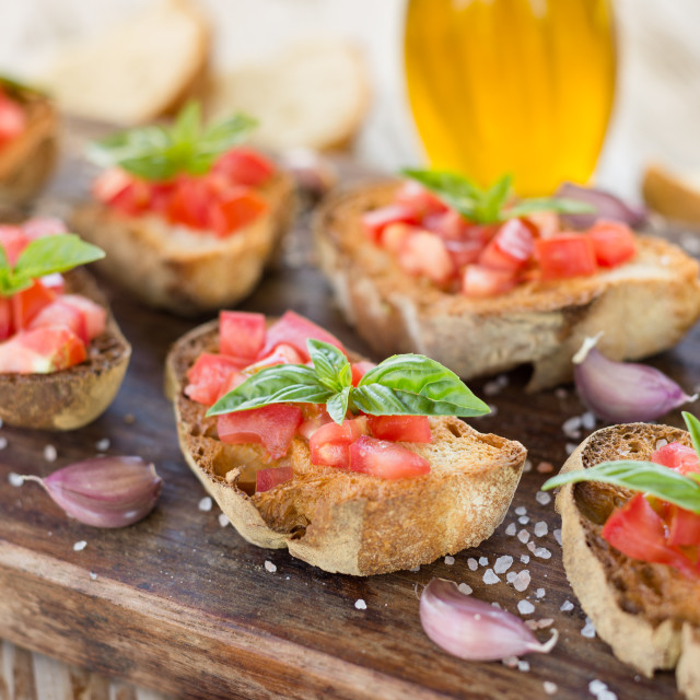 """Italian Bruschette, Finger Food"" stock image"