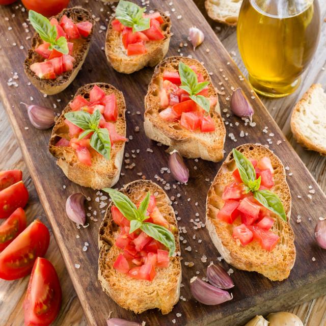 """""""Italian Bruschette, Finger Food"""" stock image"""