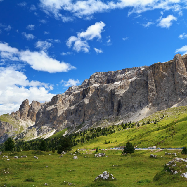 """Sella mount and high Gardena valley"" stock image"