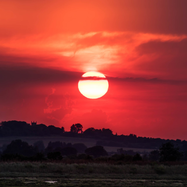 """""""Sun setting over the marshes"""" stock image"""