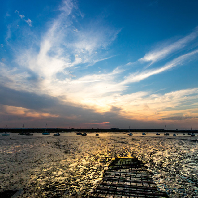 """Sunset at the Jetty"" stock image"