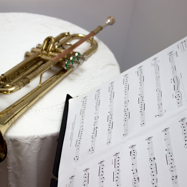 """""""Trumpet with musical score"""" stock image"""