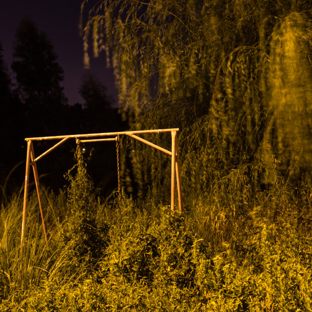"""Abandoned swing"" stock image"