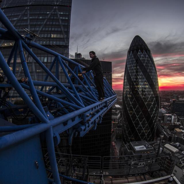 """London Crane Sunrise"" stock image"