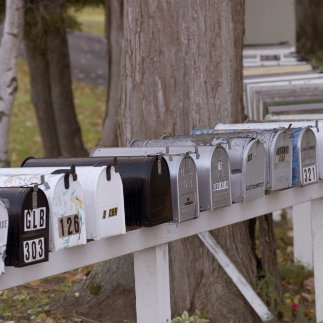 """Mailboxes, North Hero, VT, Lake Champlain Islands"" stock image"