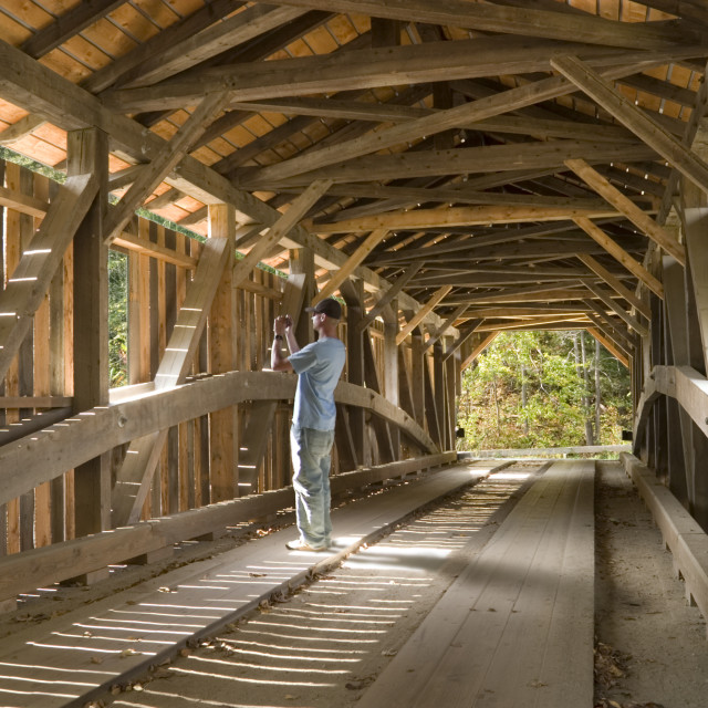 """Grist Mill Bridge in Jeffersonville, VT."" stock image"